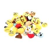 20 pcs Emoji jouets en peluche mini pendentifs porte-clés