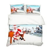 2Pcs/Set Christmas Style 3D Santa Claus & Elk Printed Pattern Duvet Cover