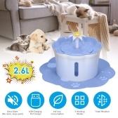Fuente de agua automática para mascotas de 2.6L Botella para beber Dispensador de agua eléctrico Comedero con triple 3 Alfombrilla de ajuste de flujo ajustable para gatos Perros Mascotas