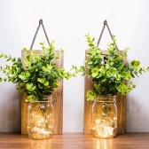 2PCS Hanging Glass Mason Jars LED Fairy Lights Wall Hanging Plastic Plant Home Lighting