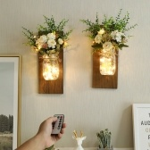 2PCS Hanging Glass Mason Jars LED Fairy Lights Wall Hanging Plastic Flower Home Lighting