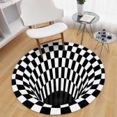 3D Space Round Carpet, Checkered Vortex Optical Illusions Non Slip Area Rug Anti-Slip Floor Mat(60*60cm)