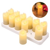12 PCS Rechargeable Flameless Candles Realistic Warm Yellow LED Cordless Pillar Candles Electric Candle Lights with Flickering Flame for Christmas Halloween Festivals Wedding Party Decoration