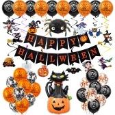 Halloween Balloon Decorations Set Hanging Happy Halloween Banner
