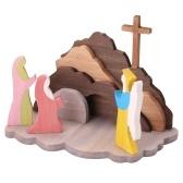 木製のイースター復活の装飾イースターシーンのための木製の装飾イースターの装飾木製のキリスト降誕セット