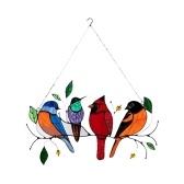 Pintura de pássaros decoração de janelas ornamentos de arte em paredes