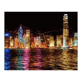 Pintura al óleo de bricolaje con patrón de vista nocturna de la ciudad sobre lienzo