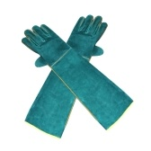 Anti-Bite Safety Gloves Ultra Long Leather Green Pets Grip Biting Protective Gloves