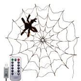 Spider Web Lamp with Black Spider Warm White Remote Control 8 Flashing Modes Halloween Decoration(USB)