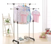 iKayaa Metal Adjustable Double Rail Clothes Garment Dress Hanging Rack Width Extendable Heavy-duty Cloth Display Stand Organizer on Wheels Shoes Rack
