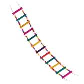 De alta calidad del juguete de escalera de madera natural del animal doméstico del pájaro del loro con alambre de acero Conexión Global Bird flexible para loro del Parakeet de Budgie tortolitos Cockatiel