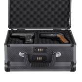 iKayaa dupla face de alumínio rígido Pistola Revólver Caso Com 2 Combinação Locks Segurança Gun Carry Caixa de armazenamento Acessório