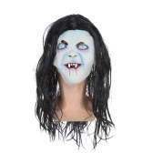 Latex fantôme à pleines dents Scary Festnight Hommes Masque Perruque Cheveux longs pour cosplay Halloween Masquerade Party