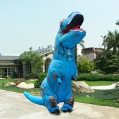 Funny Inflatable Dinosaur Trex Costume Suit Air Fan Opéré Blow Up Halloween Cosplay Fancy Dress Costume d'animal Jumpsuit - Bleu, Adulte