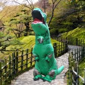 Funny Inflatable Dinosaur Trex Costume Costume Air Fan Opéré Blow Up Halloween Cosplay Fancy Dress Costume d'animal Jumpsuit - Vert, Adulte