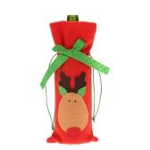 Botella Festnight 1PC vino tinto cubierta del bolso de la cena de Navidad decoración de la tabla del partido Decoración Elk