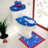 3pcs / set Decoração de banheiro de Natal Tampa de assento de toalete + tapete em forma de U + Tampa de tanque e tampa de caixa de tecido Ornamentos de Natal