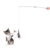 Interactivo Desmontable Pet Cat Feather Teaser Wand Stick 2 Sección Ejercicio Diversión Jugar Juguete con 1 Pluma Relleno
