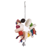 Parrot Toys Hanging Chew Bite Swing Foraging Toys with Bell for Bird Cage Accessories Towel Gourd