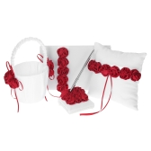 4pcs/set Wedding Supplies Red Rose Satin Flower Girl Basket + 7 * 7 inches Ring Bearer Pillow + Guest Book + Pen Holder
