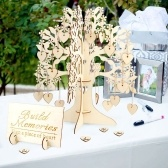 3D Wooden Guest Sign Book Family Wishing Tree