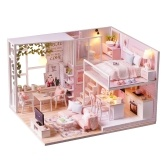 DIY Miniatura Loft Kit de casa de muñecas 3D Casa de madera rosada (Sin cubierta de polvo-Sin caja de música)