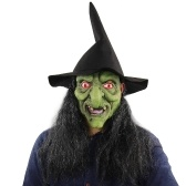 Latex Full Head Scary Green Witch Mask