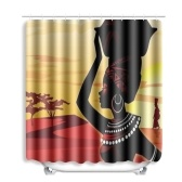 African Woman Printed Pattern Bathroom Shower Curtain