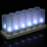 Juego de 12 luces LED recargables que cambian las velas sin llama parpadeantes de Tealight