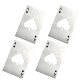 4PCS Outdoor Stainless Steel Beer Bottle Opener Card Poker