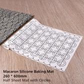 Macaron Силиконовый коврик для выпечки 260 * 600 мм 10,24 * 23,62 дюйма Половина с круглыми кружочками Тонкая сетка Антипригарная противень для выпечки макаронных пирожных с печеньем