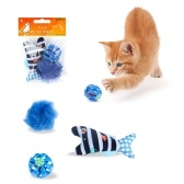 3 Unids Juego de Juguetes para Cat Catnip Fish Bell Ball Turkey Hair Ball Catnip Juguetes de Persecución Interactivos para Cat Kitty