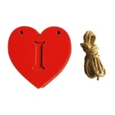 10Pcs Wooden Slices with 2 Holes Hollow I LOVE YOU Hanging Long Chain Wedding Ornament