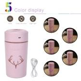 Mini humidificateur portable 500 ml petit humidificateur à brume fraîche avec veilleuse USB humidificateur de bureau personnel pour chambre de bébé maison de bureau de voyage super calme (rose)