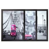 30 * 40cm Francés London paisaje Patrón Lona extraíble cuadro de la pared arte de la etiqueta de decoración de interior hermosa pintura reutilizable 3 paneles con regalo de inauguración del marco