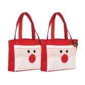 2pcs / set Санта-Клаус Рождественские конфеты с ручками Нетканые сумки для подарков Украшения для украшения X'mas