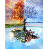 12 * 16 inches/30 * 40cm DIY 5D Diamond Painting Kit Four Seasons Tree Pattern Resin Rhinestone Mosaic Embroidery Cross Stitch Craft Home Wall Decor
