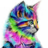12 * 12 inches/30 * 30cm DIY 5D Diamond Painting Kit Colorful Cat Pattern Resin Rhinestone Mosaic Embroidery Cross Stitch Craft Home Wall Decor