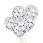 """12 """"Konfetti Ballon Transparente Latex Ballons mit Stern Multicolor Konfetti Crepe Papier für Hochzeit Geburtstag Halloween Dekorationen mit bunten Crepe Papers"""