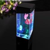 Mini Desktop dekoracyjny akrylowy ekologiczne Fish Tank Light Small Magic LED Kolorowe lampy akwariowe Meduzy