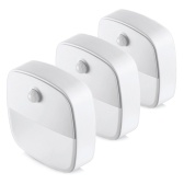 3-Pack Warm White LED Motion Sensor Stick-On Night Light Cordless Battery-Powered Auto Night Lamp for Bedroom Bathroom Kitchen Hallway Closet Stairs
