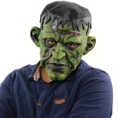 Latex Full Head Scary Green Face Man Mask