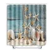 Summer Beach Conch Starfish Printed Pattern Bathroom Shower Curtain