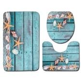 3pcs / set Летний пляж Conch Starfish Печатный шаблон Flannel Bathroom Set