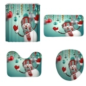 Christmas A Style 3D Digital Printing Bathroom Four-Piece Multicolor Snowman Pattern Waterproof Durable Bathroom Four-Piece