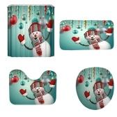 クリスマスAスタイル3Dデジタル印刷浴室4ピース多色雪だるまパターン防水耐久性のある浴室4ピース