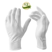 12 Pairs/Lot White Soft Cotton Ceremonial Gloves