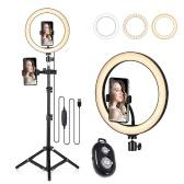 10.2 Anillo de luz LED 3200K-5500K Lámpara de cámara de escritorio regulable 3 modos de luz 10 Brillo ajustable para transmisión en vivo Selfie Maquillaje YouTube Video Vlog Fotografía