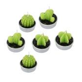 Anself 6pcs Cactus bougies bougies de plantes vertes artificielles pour la décoration de la maison mariage anniversaire
