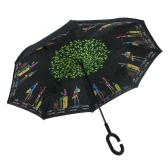 C-Handle Upside Down inverse Inverted Windproof pluie Parapluie double couche Inside-Out